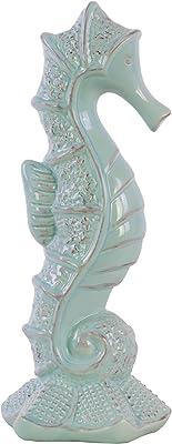 Benjara Seahorse Figurine with Sea Star Base, Set of 2, Blue