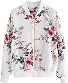 Romwe Women's Casual Lace See Through Long Sleeve Zipper Up Bomber Jacket Outwear Top