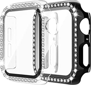 Apple Watch Case with Tempered Glass Screen Protector for iWatch 42mm Series 3/2/1 [2 Pack] Bling Crystal Diamond Rhinestone Bumper Full Cover Protective Case for Women Girls