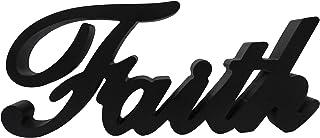 Best CVHOMEDECO. Matt Black Wooden Words Sign Free Standing Faith Tabletop/Shelf/Home Wall/Office Decoration Art, 10-3/4 x 4-1/2 x 1 Inch Review