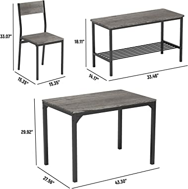 Teraves Dining Table Set for 4/Computer Desk,Kitchen Table with 2 Chairs and a Bench,Table and Chairs Dining Set 4 Picce Set