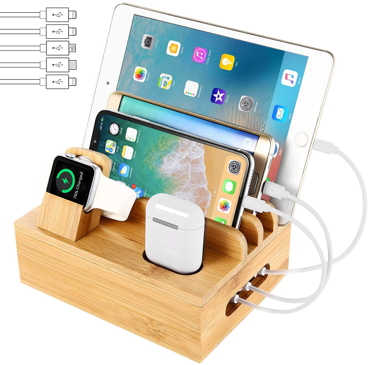 Bamboo Charging Station Dock for 4/5 / 6 Ports USB Charger with 5 Charging Cables Included, Desktop Docking Station Organizer for Cellphone,Smart Watch,Tablet(No Power Supply): Electronics