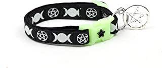 Pugs2Persians Witch's Familiar on Black Cat Collar - Safety - Breakaway - Charm and Bell - Wicca - Witch - Occult - Pentagram