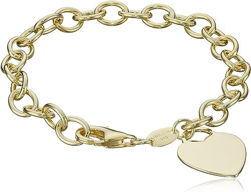 Sterling Silver Heart Tag Bracelet, 7.5″