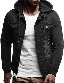 BingYELH Mens Autumn Winter Hooded Hipster Hip Hop Button Down Long Sleeve Hooded Denim Jacket