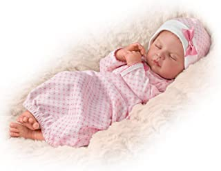 The Ashton - Drake Galleries Sweet Dreams, Serenity Breathes TrueTouch Silicone with Hand-Rooted Hair - Lifelike, Realistic Newborn Baby Doll 18-inches