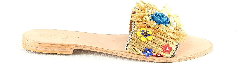 Manoukian Flache Sandale mit An- und Ausziehen Damen8 KinderMdchen beige Damen