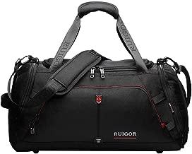 Sport Gym Duffel Bag, Water Resistant, Large Sports Duffel by Swiss RUIGOR - Black