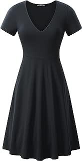 FENSACE Womens V Neck Short Sleeve Casual Flare Knee Length Skater Dress