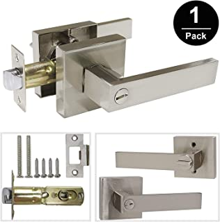 Gobrico Square Rosette Bedroom/Bathroom Lock Straight Lever Handle Privacy Door Locket with Thumb-Turn Button,Satin Nickel Finished 1Pack