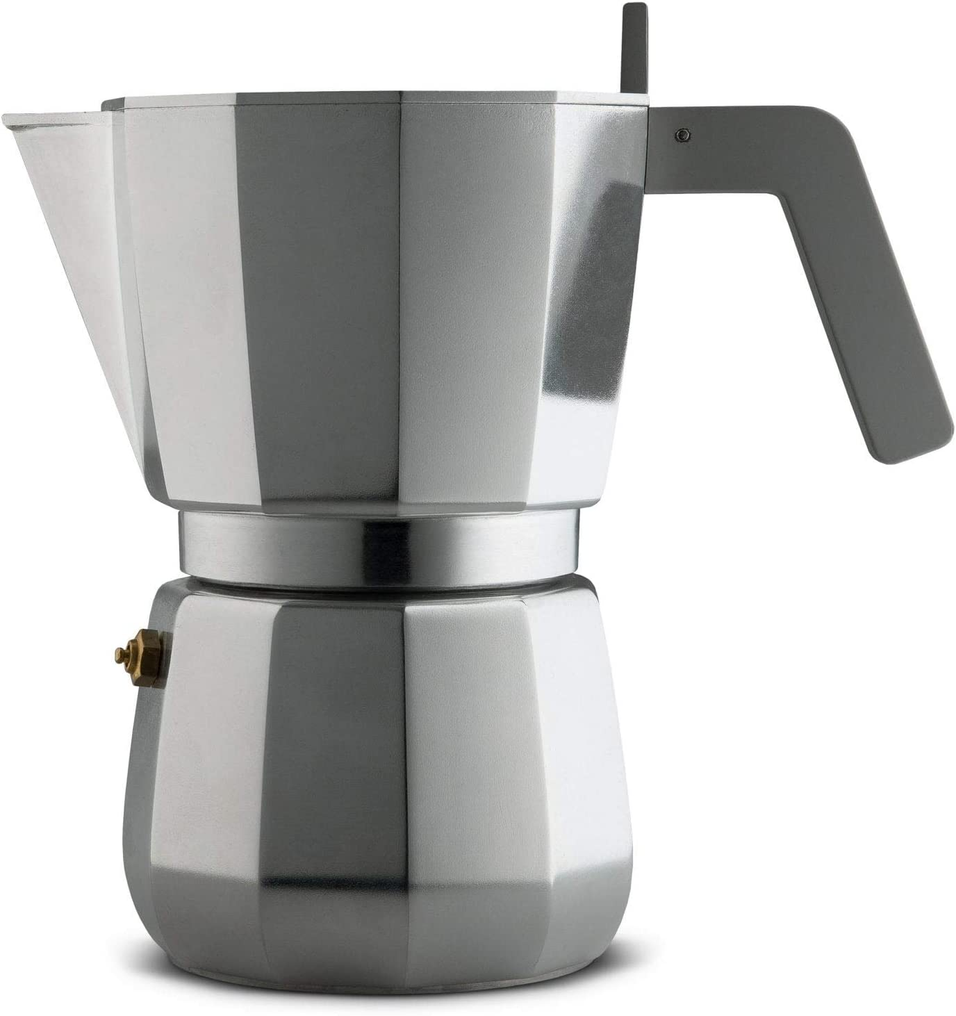 Alessi Moka DC06/9 FM - Cafetera para café exprés de diseño en aluminio fundido mango y pomo en PA, 9 tazas gris