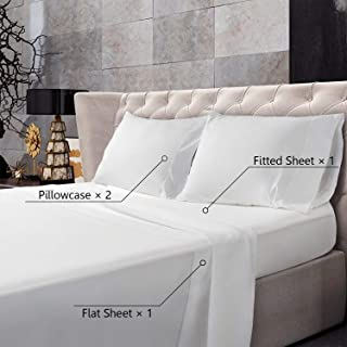 BedStory Bed Sheet Set 4 Piece, Ultra Soft Queen Bedding Sheets Set with Premium Microfiber - 1 Deep Pocket Fitted Sheet, 1 Flat Sheet & 2 Pillowcases - Wrinkle Fade Stain Resistant