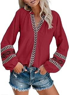 Women V Neck Boho Embroidered Shirt Short Sleeve Summer Tops Casual Blouses