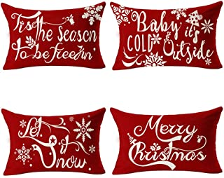 Andreannie Set of 4 Merry Christmas Red Tis The Season Let it Snow Baby It's Cold Outside Cotton Linen Lumbar Waist Throw ...