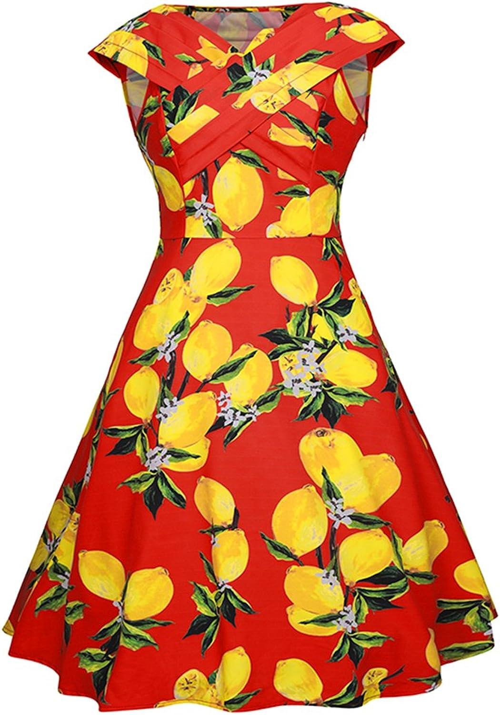 Helan Women's Vintage Sleeveless Cross VNeck Floral Dresses