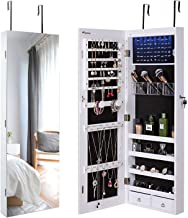 Nicetree Jewelry Cabinet, Jewelry Armoire Organizer with Full Screen Mirror, Wall/Door Mounted, 8 LED Lights, Full Length Mirror, White (Renewed)
