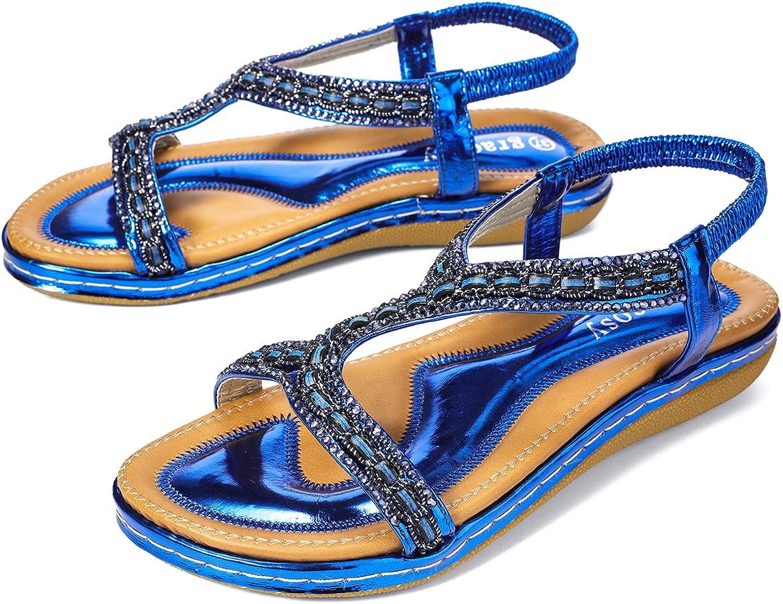 Gracosy Flat Sandals for Women, Summer Flat Wedding Rhinestone Beaded Flip Flops Bohemian Thong Slip on bluee 9 M US