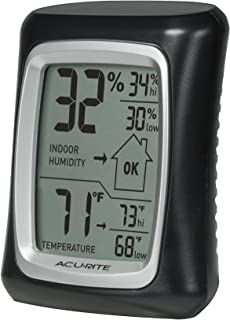AcuRite 00325 Indoor Thermometer & Hygrometer with Humidity Gauge, Black, 0.3