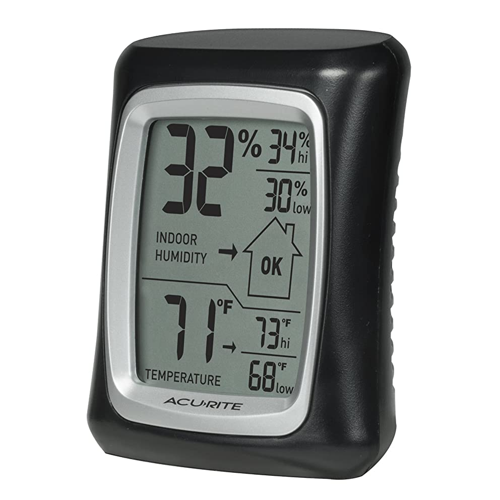 AcuRite 00325 Indoor Thermometer & Hygrometer with Humidity Gauge, Black, 0.3,