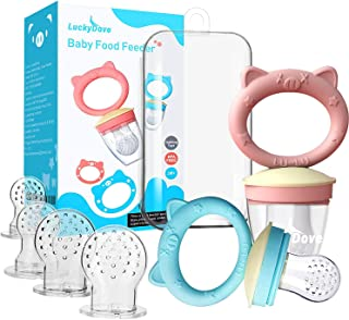LuckyDove Baby Food Feeder/Fruit Feeder Pacifier (2 Pack) - Infant Teething Toy Teether, BPA-Free Food Grade Silicone Fres...