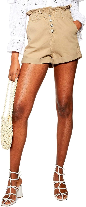 Topshop Women's Paperbag Waist Denim Shorts, Size 10 - Brown