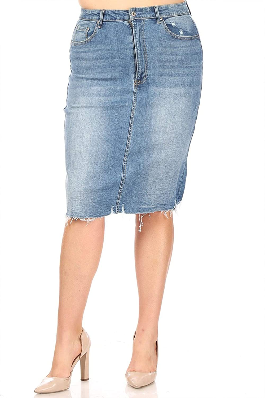 FashionStream Women's Casual Comfy Mid Waist Pockets Button Zipper Stretch Denim Pencil Skirt