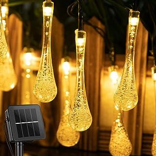 سلسلة مصابيح ليد تعمل بالطاقة الشمسية من ايليد باضاءة بيضاء خفيفة بتصميم قطرات ماء وجزء داخلي نجمي، مكونة من 30 مصباح للدي...