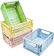 POTTIIS 4-Pack Baskets Plastic for Shelf Home Kitchen Storage Bin Organizer, Stacking Folding Storage Baskets for Bedroom ...