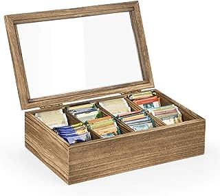 SRIWATANA Tea Bag Storage Organizer, 8-Slot Tea Box Case with Glass Top, Vintage Style