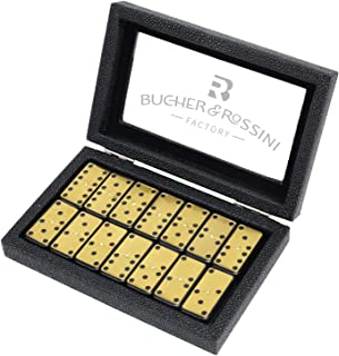 Metal Surface Dominoes Set - Premium Classic 28 Pieces Double Six in Durable PU Wooden Box with Strong Magnetic Sealed for...