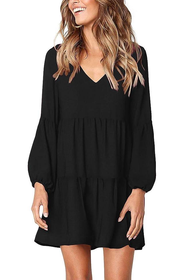 Women's Lantern Long Sleeve Tunic Dress V Neck Loose Swing Shift Dresses ees171247320373
