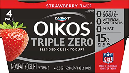 Dannon Oikos Triple Zero Blended Nonfat Greek Yogurt, Strawberry, 5.3 Ounce (Pack of 4) Nonfat Greek