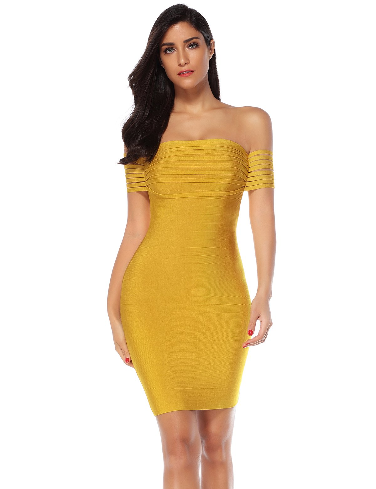 Available at Amazon: Meilun Women's Fringe Off Shoulder Bandage Bodycon Party Celebrity Dress