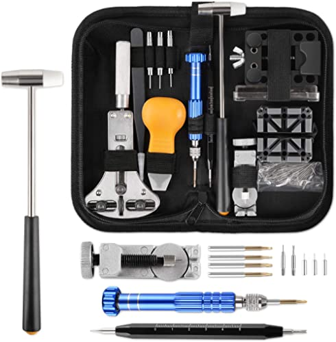 YISSVIC All Display 183pcs Watch Repair Tool Kit Professional Spring Bar Watch Band Link Remover with Carry Case