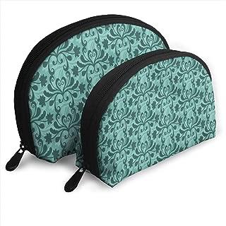 Makeup Bag Free Vector Teal Western Flourish Pattern Handy Half Moon Cosmetic Bags Set Organizer for Women,Girls 2 Piece