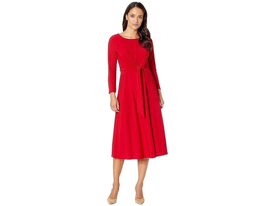 Taylor Bracelet Sleeve Front Knot Jersey Dress (Scarlet) Women