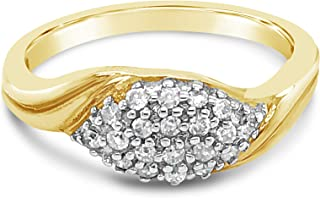 10K Yellow Gold 1/5 Ct Natural Diamond Ring For Women. Birthstone Of April. Size 7