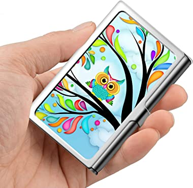 Professional Business Card,Stainless Steel Wallet case Credit Card ID Card Holder Life Tree Owl