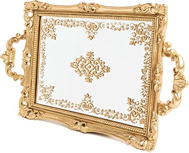 Decorative Tray for Jewelry, makeup, perfume - Gold vanity tray for dresser, countertop - catchall tray trinket tray