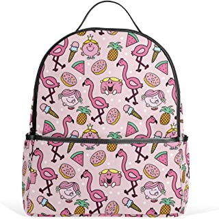 Pink Flamingo on Polka Dots School Backpack Laptop Backpacks Casual Bookbags Daypack for Student Girls Boys