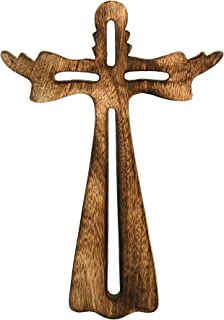 Krazy Craft Big 12x8 Wood Religious Wall Cross Antique Burn Finish Design Wall Mount - Wooden Holly Jesus Cross Art Sculpture Hanging Cross for Living Room Home Office Wall Decor - Housewarming Gift