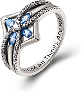 YFN Cross Ring Vintage Tone Sterling Silver with God All Things are Possible CZ Band Rings Size 6-10