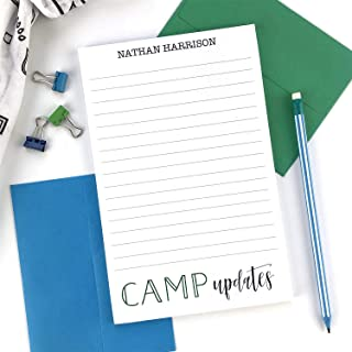Summer Camp Stationary Set with Matching Envelopes, Kids Lined Personalized Stationery Set