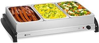 Royal Catering RCHP-400/3 Calienta Platos Electrico Calentador Buffet (3 x 2 L, 400 W, 45–85 °C, Cubiertas de Vidrio Acrílico, Acero Inoxidable)