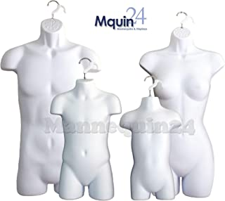 White Female Dress Male Child and Toddler Set - 4 Body Mannequin Forms (2-Pack)