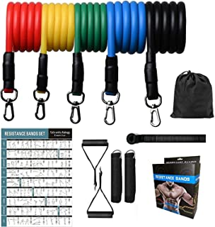 JAEDEN Resistance Bands Set Exercise Bands Home Workouts with 5 Fitness Tubes, 2 Foam Handles, 2 Ankle Straps, Door Anchor...