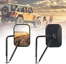 Bentolin Rectangular Door Off Mirror Adventure Door Hinge Side View Mirrors for 2007-2018 Jeep Wrangler JK JKU CL JLU, 1Pair-Textured Black