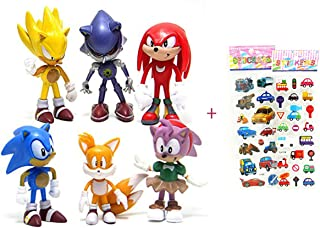 6 Pcs Sonic the Hedgehog Action Figures, Cake Toppers, 2.4""