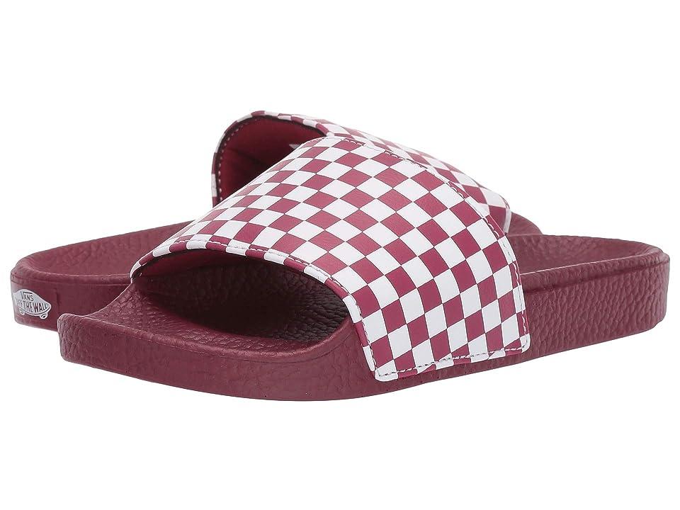 Vans Kids Slide-On (Little Kid/Big Kid) ((Checkerboard) Rumba Red/White) Kids Shoes