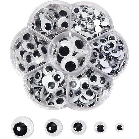TOAOB 262 pièces Yeux Mobiles Autocollants Adhésifs en Plastique Wiggle Rondes Noir Blanc 6mm 8mm 10mm 12mm 15mm pour Artisanat Collage des yeux Accessoires DIY Scrapbooking Arts Craft Décorations